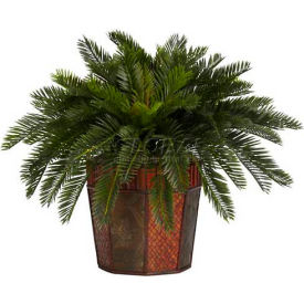 Nearly Natural Cycas with Octagon Vase Silk Plant