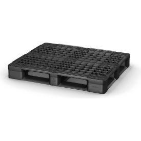 Rackable Plastic Pallet Black 48x40 - Open Deck, 6 Runner, Fork Cap. 4400 Lbs.