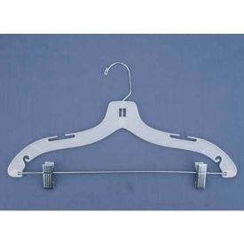 """NAHANCO 1500RC Suit Hanger-Heavy Weight W/Metal Clips, 17""""L, Plastic-WH, Pkg Qty 100"""