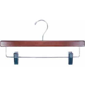 "NAHANCO 8214RCCH Skirt/Slack Hanger W/Chrome Hardware, 14""L, Wood-Walnut, Pkg Qty 100"