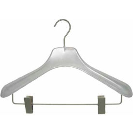 """NAHANCO W007RC Concave Frosted Flare Display Suit Hanger W/drop bar, 17""""L, Plastic-CL Frosted"""
