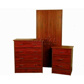"NK Medical Wardrobe, Monroe, 2 Doors/2 Drawers, 30"" Interior, 31-1/2""W X 24""D X 72""H, Milwork Cherry"