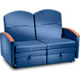 NK Medical Double Sleeper Chair, With Wood Arm Caps, Colonial Blue