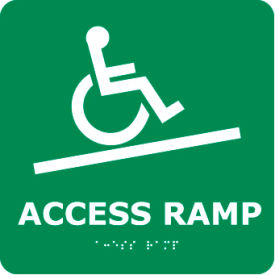 Graphic Braille Sign - Access Ramp - Gray