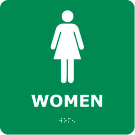 Graphic Braille Sign - Woman - Gray