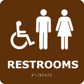 Graphic Braille Sign - Restrooms - Brown