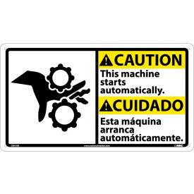 Bilingual Plastic Sign - Caution This Machine Starts Automatically
