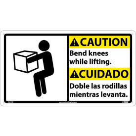Bilingual Plastic Sign - Caution Bend Knees While Lifting