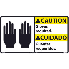 Bilingual Vinyl Sign - Caution Gloves Required