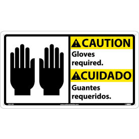 Bilingual Plastic Sign - Caution Gloves Required