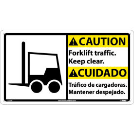 Bilingual Plastic Sign - Caution Forklift Traffic Keep Clear