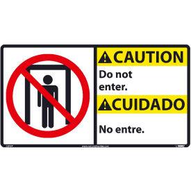 Bilingual Vinyl Sign - Caution Do Not Enter