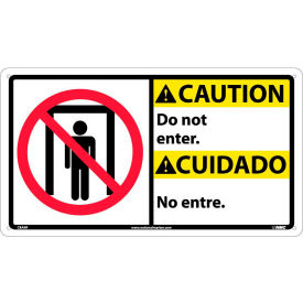 Bilingual Plastic Sign - Caution Do Not Enter
