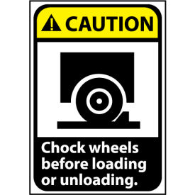 Caution Sign 14x10 Rigid Plastic - Chock Wheels Before Loading