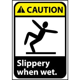 Caution Sign 10x7 Rigid Plastic - Slippery When Wet