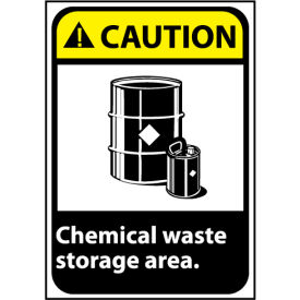 Caution Sign 14x10 Vinyl - Chemical Waste Storage Area