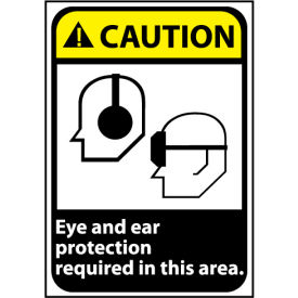Caution Sign 14x10 Aluminum Eye and Ear Protection Required