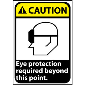 Caution Sign 14x10 Vinyl - Eye Protection Required