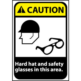 Caution Sign 14x10 Aluminum - Hard Hat and Safety Glasses Required