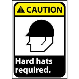 Caution Sign 14x10 Rigid Plastic - Hard Hat Required