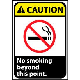 Caution Sign 14x10 Rigid Plastic - No Smoking Beyond This Point