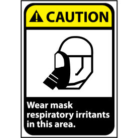 Caution Sign 14x10 Rigid Plastic - Wear Mask In This Area