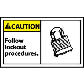 Graphic Machine Labels - Caution Follow Lockout Procedures