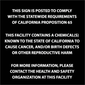 California Proposition 65 Plastic Sign - This Facility Contains A Chemical