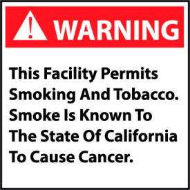 California Proposition 65 Plastic Sign - Warning This Facility Permits Smoking