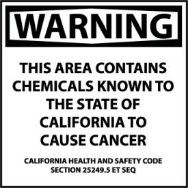 California Proposition 65 Plastic Sign - Warning This Area Contains Chemicals