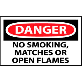 Machine Labels - Danger No Smoking, Matches Or Open Flame