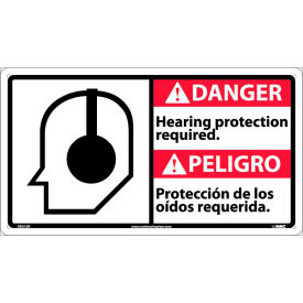 Bilingual Plastic Sign - Danger Hearing Protection Required
