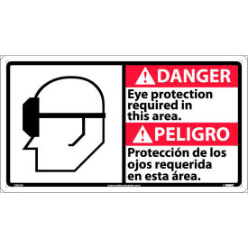Bilingual Plastic Sign Danger Eye Protection Required In This Area