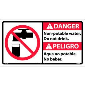 Bilingual Vinyl Sign - Danger Non-Potable Water Do Not Drink