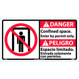 Bilingual Vinyl Sign - Danger Confined Space Enter By Permit Only