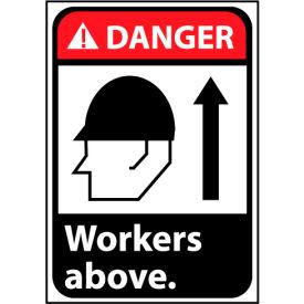 Danger Sign 14x10 Rigid Plastic - Workers Above