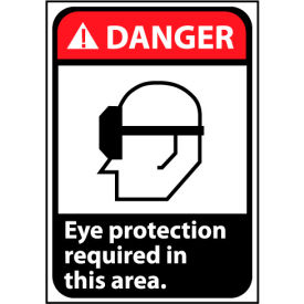 Danger Sign 14x10 Aluminum Eye Protection Required In This Area
