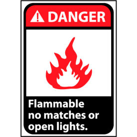 Danger Sign 14x10 Rigid Plastic - Flammable No Matches Or Open Lights