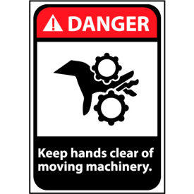 Danger Sign 14x10 Rigid Plastic - Keep Hands Clear Of Moving Machinery