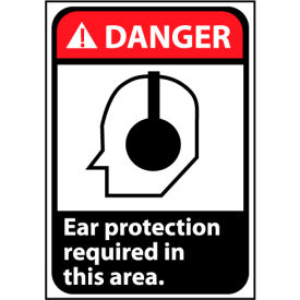 Danger Sign 14x10 Vinyl - Ear Protection Required