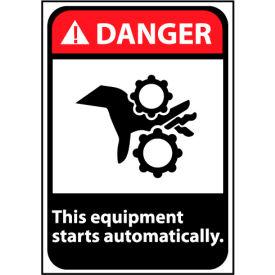 Danger Sign 14x10 Rigid Plastic - Equipment Starts Automatically
