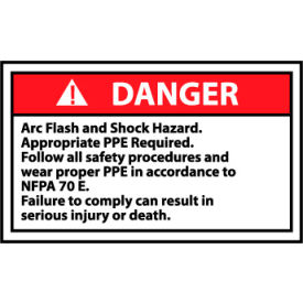 Graphic Machine Labels - Danger Arc Flash And Shock Hazard Appropriate PPE
