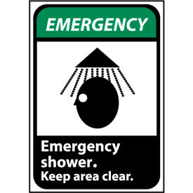 Emergency Sign 14x10 Aluminum - Emergency Shower Keep Area Clear