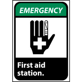 Emergency Sign 10x7 Rigid Plastic - First Aid Station