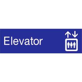 Engraved Sign - Elevator - Blue