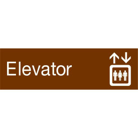 Engraved Sign - Elevator - Brown