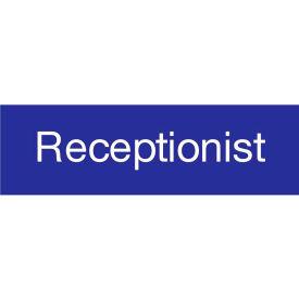 Engraved Sign - Receptionist - Blue