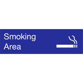 Engraved Sign - Smoking Area - Blue