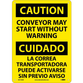 Bilingual Aluminum Sign - Caution Conveyor May Start Without Warning