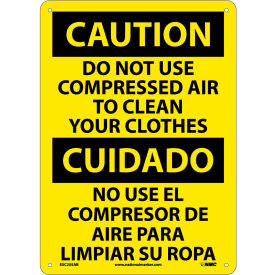 Bilingual Aluminum Sign - Caution Do Not Use Compressed Air To Clean Clothes